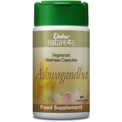 Dabur Nature4u Ashwagandha Suplemento Alimentar (Cápsulas Vegetarianas)
